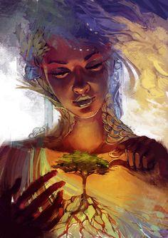 Ideas Mother Nature Drawing Fantasy Art For 2019 Art Et Nature, Nature Artwork, Nature Drawing, Nature Sketch, L'art Du Portrait, Goddess Art, Goddess Of Nature, Art Et Illustration, Aesthetic Art