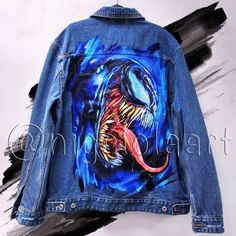 Denim Jackets: Venom against spiderman Hand painted on a denim jacket. You can order Denim Jacket Venom, for this, specify what size of jacket or waistcoat you need and I will get to work! Painted Denim Jacket, Painted Jeans, Painted Clothes, Denim Jacket Men, Hand Painted, Men Shorts, Denim Art, Men's Denim, Denim Style