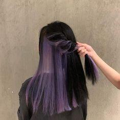 Hair Color Streaks, Hair Color Purple, Hair Dye Colors, Hair Color For Black Hair, Cool Hair Color, Hair Highlights, Hair Dyed Underneath, Hidden Hair Color, Peekaboo Hair