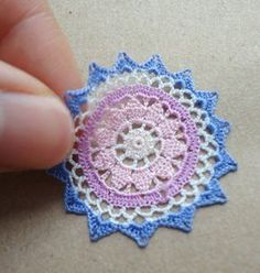 Miniature crochet doily in colors 112 dollhouse by MiniGio on Etsy