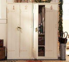 Chalkboard Blue: Vintage Pottery Barn Lockers Wooden Lockers, Vintage Lockers, Wooden Cabinets, Entry Way Lockers, Garage Lockers, Staff Lockers, School Lockers, Barn Garage, Armoire Entree