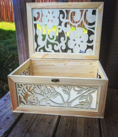What a stunning item to use for your reception to hold your cards! This box is absolutely beautiful featuring a wood material with elegant floral cutouts. This is so much cuter than the traditional wh