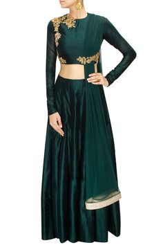Green floral embroidered lehenga set with attached dupatta available only at Pernia's Pop-Up Shop.