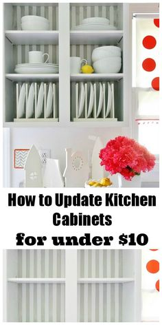 Update your kitchen cabinets for under $10.00.  Simple fix for a quick update!