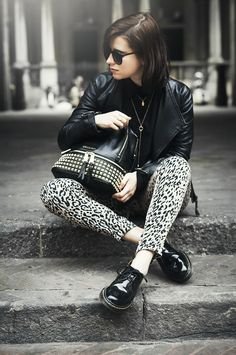 Stud Black Backpack Michael Kors Shopbop Animalier Outfit Look http://www.onceupontimeblog.com