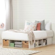 Platform Bed With Storage, Bed Frame With Storage, Ikea Platform Bed, Full Size Storage Bed, Queen Platform Bed Frame, Kids Beds With Storage, Bedroom Furniture, Bedroom Decor, Bedroom Ideas