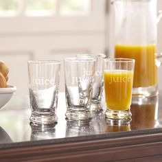 Juice Glasses | Each distinctive juice glass makes a statement on your breakfast table. Holds 9 ounces. Dishwasher safe.