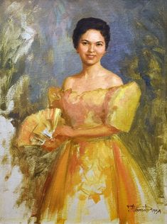 Fernando Amorsolo - Filipina Woman in Mestiza Dress 1954 Philippines People, Miss Philippines, Philippines Culture, Philippines Dress, Philippine Mythology, Philippine Art, Filipino Art, Filipino Culture, Filipino Fashion