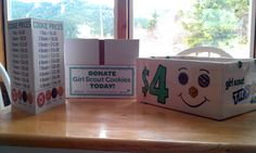 Cookie Prices & Peanut Free Sign Supply Box / Donate Box Cookie Carry Box Girl Scout Cookie Sales, Brownie Girl Scouts, Girl Scout Cookies, Samoa Cookies, Gs Cookies, Cookie Time, Cookie Box, Cookie Ideas, Girl Guide Cookies