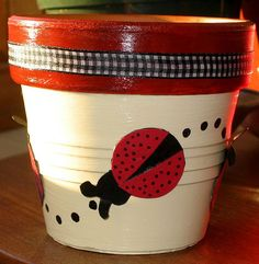 decorate pots with ladybugs