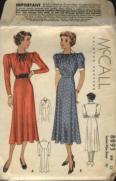 McCall 8893 | ca. 1936 Junior Miss Dress