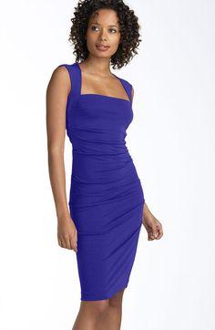Nicole Miller Open Back Jersey Sheath Dress in Blue (cobalt) - Lyst