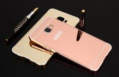 Fashion Luxury Rose Gold Mirror Phone Cases For Samsung Galaxy C9 Pro Alumimum Metal Frame shell Back Cover C9 Pro