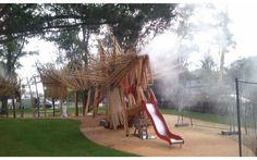 Aire de jeux en face du chateau des ducs de Bretagne. robinier et châtaigner > longueur 30 m, hauteur 4.5 m, un jardin suspendu de prêles sur l'échine d'une longueur de 22 m, un système de brumisation dans les naseaux et sur le dos et, un anus.  Collaboration Kinya Maruyama