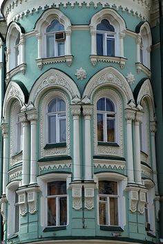 This building is on Ilyinka St. in Moscow, Russia. When people spent time on exterior design Architecture Cool, Russian Architecture, Beautiful Homes, Beautiful Places, Ludwig Mies Van Der Rohe, Amazing Buildings, Architectural Elements, Victorian Homes, Victorian Windows