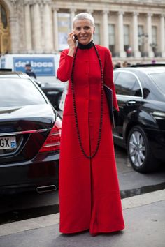 It's fashion meets the Vatican for this chic lady.