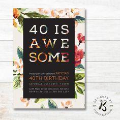 40. Geburtstagseinladung Erwachsene von StudioBaraBom auf Etsy