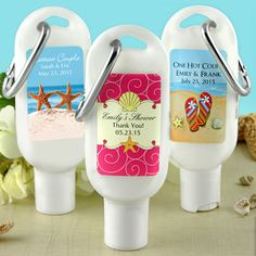 Travel Personalized Sunscreen Favors (Many Designs) (Designing Ducks 1267000) | Buy at Wedding Favors Unlimited (http://www.weddingfavorsunlimited.com/personalized_travel_sunscreen_favors_many_designs.html).