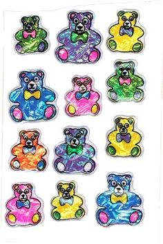 Puffy vinyl foil teddy bear stickers - 1980's