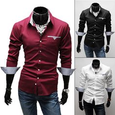 2015 Imported Clothing Fashion Menswear Autumn Men Red Black White Long Sleeve Social Casual Dress Shirt Men Slim Fit Male Shirt