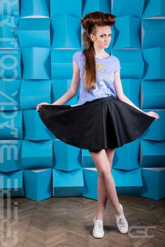 Blue Tshirt with geometric grey, blue and yellow flowers. Flared black dress with pockets. Order via facebook, pm or e-mail. Black Dress With Pockets, Yellow Flowers, Geometric Shapes, Ballet Skirt, Pastel, Spring Summer, Facebook, Grey, Skirts