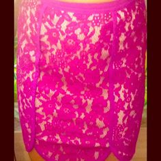 """Akira Lumiér by Bariano berry colored skirt Lumiér by Bariano berry colored skirt purchased at Akira as """"sweet little lies"""". lace design , high waisted skirt with scoop detail in the front and straight on the back . Still has tags on! AKIRA Skirts"""