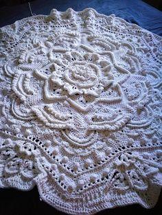 Blanket crochet white mandala madness