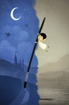 Boy painting, moon, night.