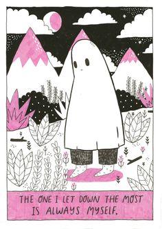 The Sad ghost's sad ghost club. A club for raising positive mental health awareness, through comics and community My Emotions, Feelings, Ghost Comic, Lynda Barry, Art Prompts, My Demons, Illustration, Art Inspo, Cool Art