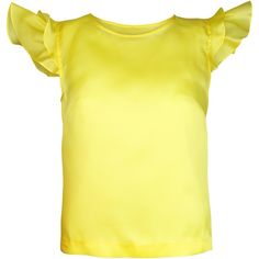 Plakinger - Silk Organza Top (465 CAD) ❤ liked on Polyvore featuring tops, ruffle top, flutter top, yellow top, keyhole top and yellow ruffle top