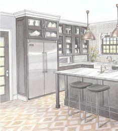 Kitchen Redo, Kitchen Layout, Kitchen Remodel, Kitchen Pantry, Refrigerator Cabinet, Built In Refrigerator, Counter Depth Refrigerator, White Appliances, Kitchen Appliances