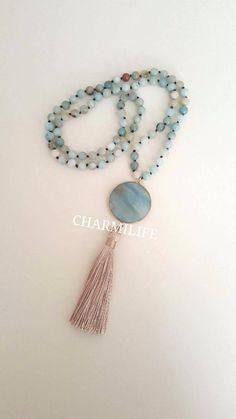 Beaded Tassel Necklace, Tassel Jewelry, Boho Necklace, Pendant Necklace, Mint Jewelry, Fall Jewelry, Stone Pendants, Stone Beads, Necklace Lengths