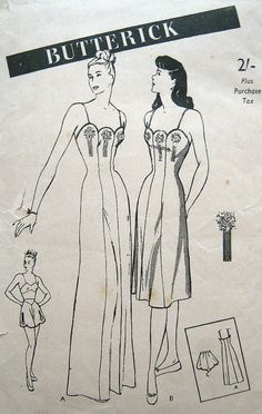 Rare 1940s Lingerie Pattern Misses Slip WWII Pin Up Girl Princess Seams Scallop…