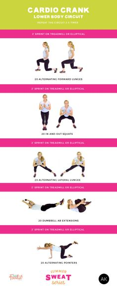 Torch calories with this Cardio Crank Lower Body Circuit Workout as part of the #SummerSWEATSeries   Posted by: YourCustomWeightlossProgram.com