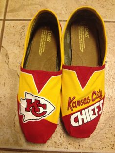 Kansas City Chiefs hand paintedTOMS by solespirit on Etsy. , via Etsy.
