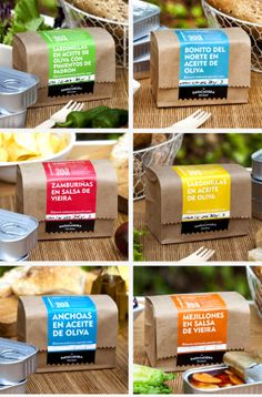 Packaging designed for gourmet canning from La Empacadora. With Package Food Branding, Food Packaging Design, Logo Food, Brand Packaging, Sandwich Packaging, Salad Packaging, Cookie Packaging, Takeaway Packaging, Delivery Comida