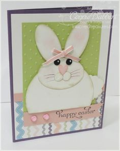 handmade Easter card ... adorble chubby punch art rabbit ... fun card ...