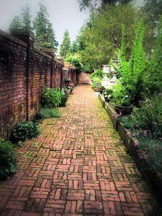 Thornewood Castle brick pathway.