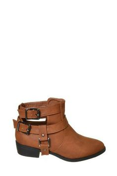Ruby Buckle Ankle Boots Size: 5.5, Color: Chestnut