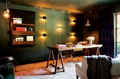 The Color of the Season: Olive Green via moody office with Charlotte Perriand sconces and trestle desk Home Office Space, Home Office Decor, Home Decor, Office Spaces, Office Ideas, Funky Living Rooms, Living Spaces, Workspace Inspiration, Library Inspiration
