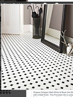 Black tiles at Topps Tiles. Suitable for walls & floors in a range of materials. Black And White Bathroom Floor, White Bathroom Tiles, Bathroom Floor Tiles, Kitchen Tiles, Black And White Flooring, Bathroom Modern, Downstairs Bathroom, Bathroom Colors, Wall Tiles