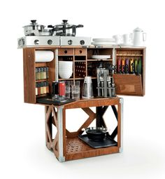 Remember the Hoosier Cabinet, the all-in-one piece of kitchen furniture that predated modern kitchens? Austrian company Camp Champ has a similar offering, this one designed for modern-day camping: Obviously that's for vehicle-based camping, as you and your mates won't want to haul something built out of marine plywood, even if