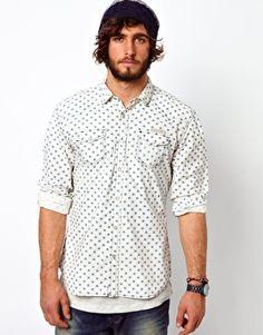 Diesel Shirt Western Spot Print Chambray Scamasax