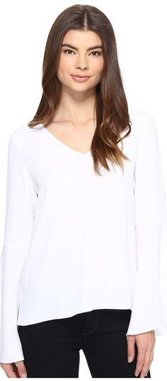 CATHERINE Catherine Malandrino Georgette Bell Sleeve Top (White Star) Women's Clothing - CATHERINE Catherine Malandrino, Georgette Bell Sleeve Top, MC600829-113, Apparel Top General, Top, Top, Apparel, Clothes Clothing, Gift, - Fashion Ideas To Inspire