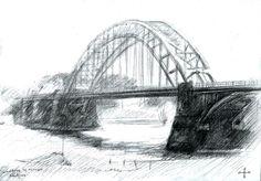 Bridge over river Waal at Nijmegen - 21-04-14 (2014), (te koop / for sale) graphite on paper (A5) #arts #kunst #Corné #Corne #Akkers #藝術 #アート #искусство #فن #seni