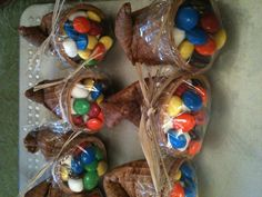M and marshmallow cornucopia treats I made for Aslyn and Coyle's Thanksgiving parties at school. Thank you Pinterest!