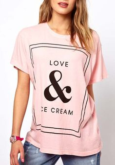 Pink Letter Print Collarless Short Sleeve Cotton T-Shirt  Yep!!!