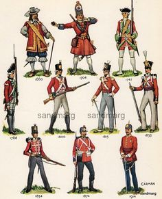 Vintage Chart of  British Infantry Uniforms from 1660