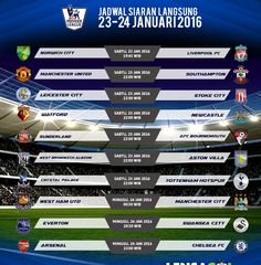 MATCH ENGLISH PREMIER LEAGUE -23 JANUARI 2016-  19:45 WIB NORWICH CITY vs LIVERPOOL FC http://ift.tt/1SBy8yX  22:00 WIB MANCHESTER UNITED vs SOUTHAMPTON http://ift.tt/1ZH8h8b  22:00 WIB LEICESTER CITY vs STOKE CITY http://ift.tt/1SBy5Dq  22:00 WIB WATFORD vs NEWCASTLE http://ift.tt/1ZH8hor  22:00 WIB SUNDERLAND vs AFC BOURNEMOUTH http://ift.tt/1SBy8z2  22:00 WIB WEST BROMWICH ALBION vs ASTON VILLA http://ift.tt/1ZH8jNf  22:00 WIB CRYSTAL PALACE vs TOTTENHAM HOTSPUR http://ift.tt/1SBy5Du -24…