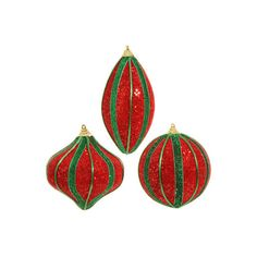 """RAZ 5.5"""" Glittered Strip Red Green Ornament Set of 3 ($9.99) ❤ liked on Polyvore featuring home, home decor, holiday decorations, christmas ornament sets, xmas ball ornaments, christmas holiday decorations, ball finial and halloween christmas ornaments"""